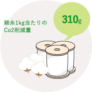 綿糸1kgのCo2削減量