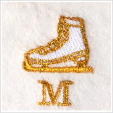 スケート靴(ゴールド)文字入