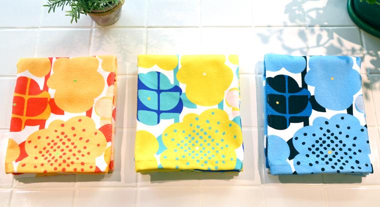 全3色の北欧風の花柄タオルのカラーイメージ