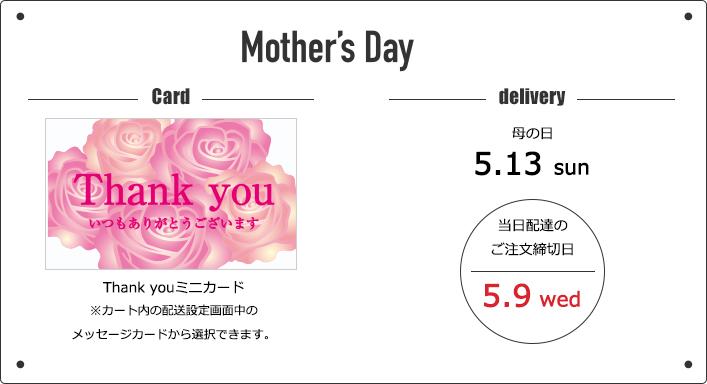 母の日カード、当日は配達は5/9ご注文迄