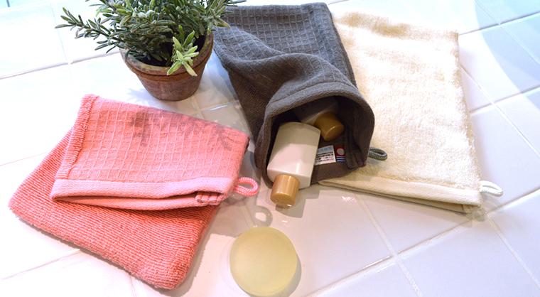 洗濯してもやわらかい今治タオル百洗綿花のバスミトンのお試しセット