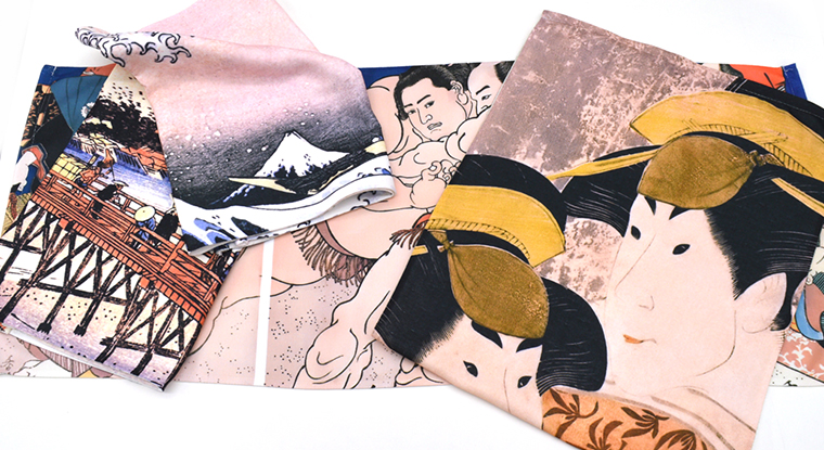 浮世絵柄の今治のタオル